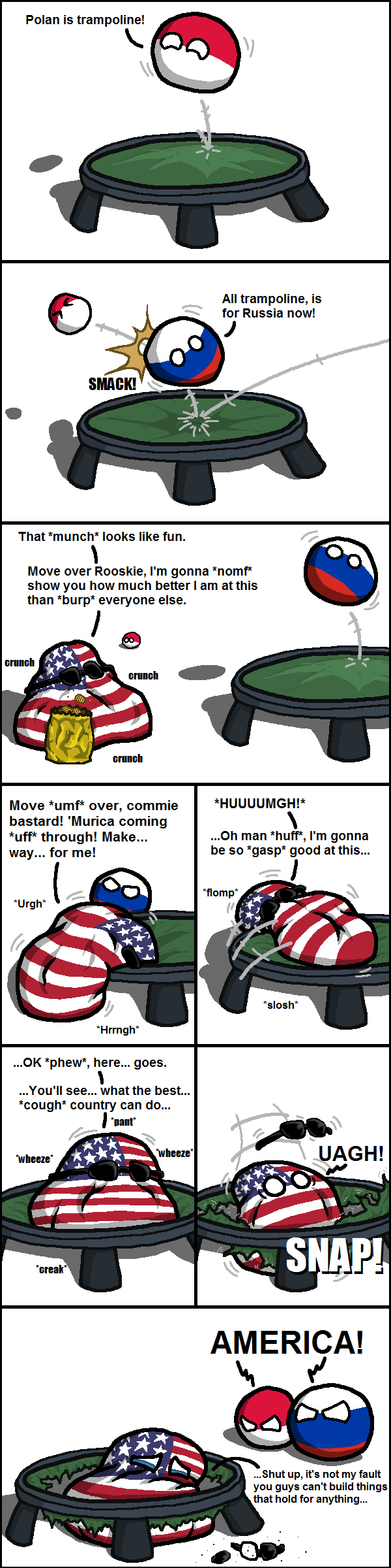Country Balls America Cannot Into Trampoline