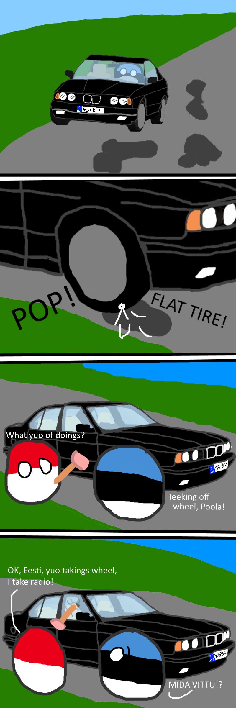 Eestie Gets a Flat Tyre